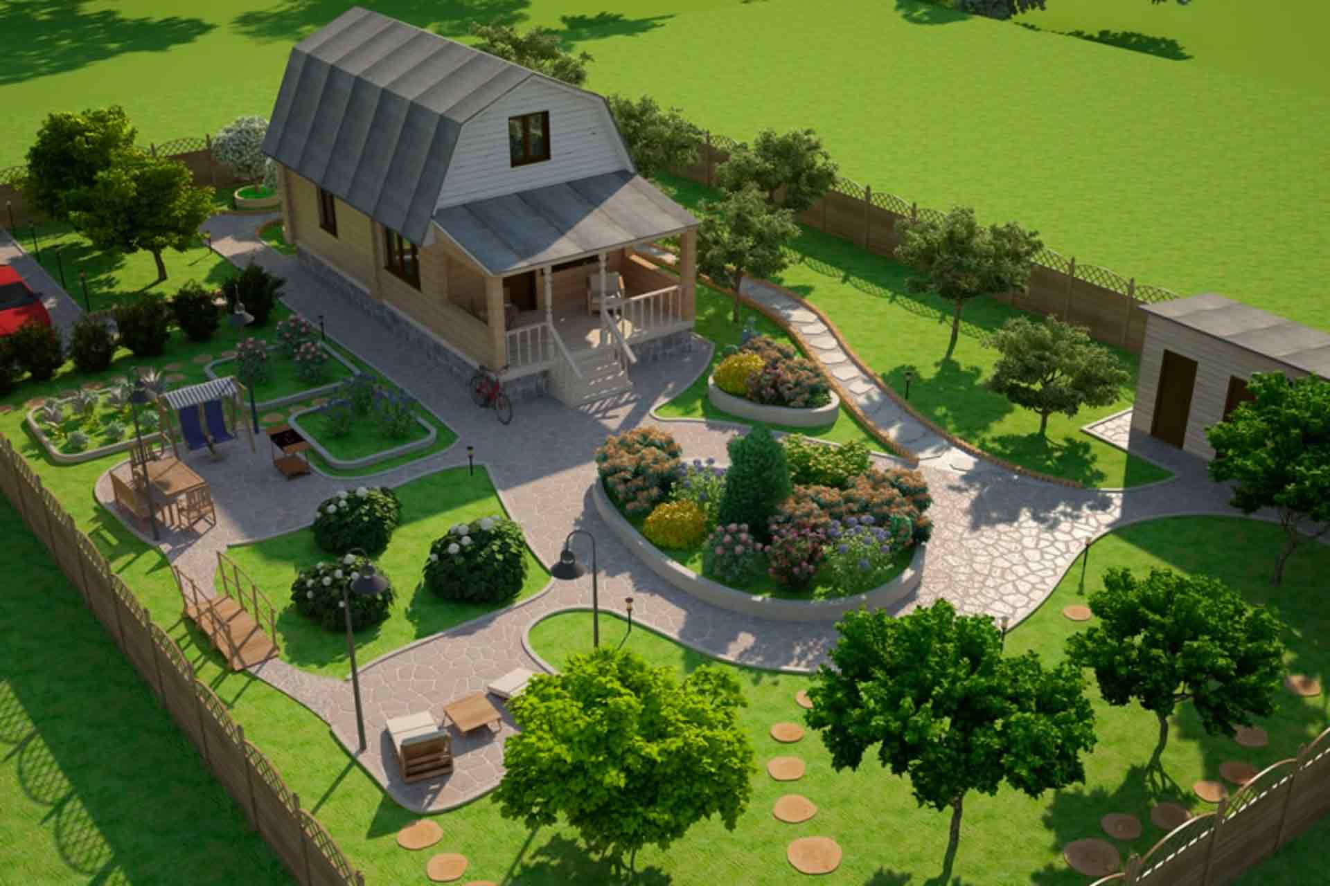 Ландшафтный дизайн проект загородного дома фото